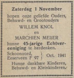 Knol en Meijer, 1-11-1941, 45 jarig huwelijk