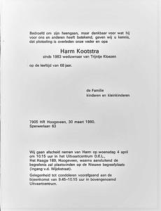 Rouwkaart Harm Kootstra