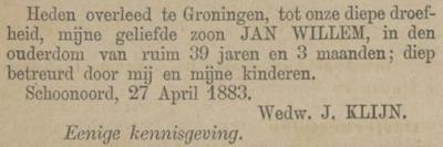 Jan Willem Klijn, 27-4-1883, overlijdensadvertentie