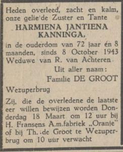Harmiena Jantiena Kanninga, 13-3-1948, overlijdensadvertentie