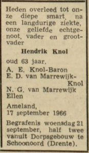 Hendrik Knol, 17-9-1966, overlijdensadvertentie