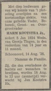 Harm Kootstra, 14-8-1938, overlijdensadvertentie