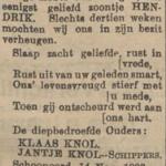 Hendrik Knol, 14-11-1903, overlijdensadvertentie