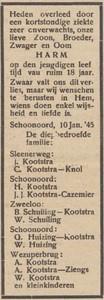 Harm Kootstra, 10-1-1945, overlijdensadvertentie