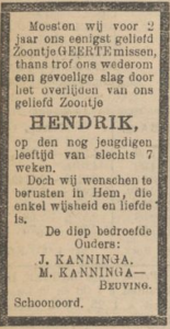 Hendrik Kanninga, 22-8-1922, overlijdensadvertentie