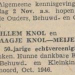 Knol en Meijer, 2-11-1946, 50 jarig huwelijk