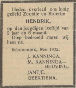 Hendrik Kanninga, 25-5-1932, overlijdensadvertentie