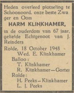 Harm Klinkhamer, 18-10-1948, overlijdensadvertentie