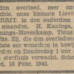Gerrit Kanninga, 16-2-1946, overlijdensadvertentie