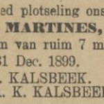 Martines Kalsbeek, 31-12-1899, overliijdensadvertentie