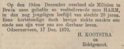 Harm Kootstra, 17-12-1870, overlijdensadvertentie