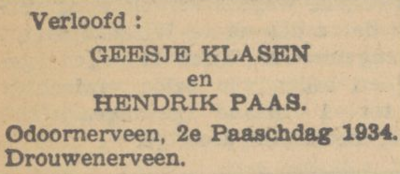 Klasen en Paas, 2-4-1934, verloofd