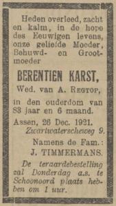 Berentien Karst, 26-12-1921, overlijdensadvertentie