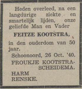Feitze Kootstra, 26-10-1940, overlijdensadvertentie
