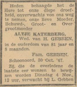 Aaltje Katerberg, 30-10-1947, overlijdensadvertentie