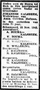 Johannes Kalsbeek, 25-11-1942, overlijdensadvertentie
