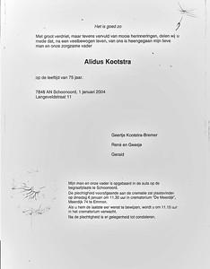 Rouwkaart Alidus Kootstra
