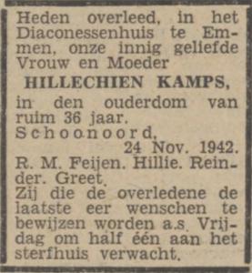 Hillechien Kamps, 24-11-1942, overlijdensadvertentie