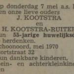 Kootstra en Ruiter, 7-5-1970, 55 jarig huwelijk