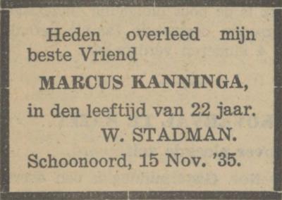 Marcus Kanninga, 15-11-1935, overlijdensadvertentie