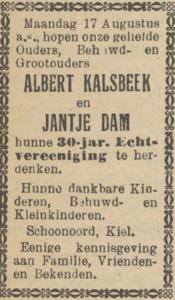 Kalsbeek en Dam, 17-8-1925, 30 jarig huwelijk