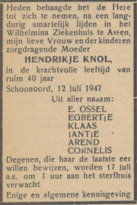 Hendrikje Knol, 12-7-1947, overlijdensadvertentie