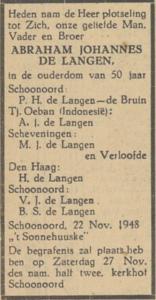 Abraham Johannes de Langen, 22-11-1948, overlijdensadvertentie