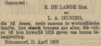 de Lange en Jeuring, 21-4-1908, huwelijksadvertentie