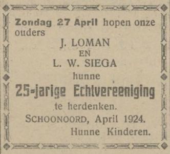Loman en Siega, 27-4-1924, 25 jarig huwelijk