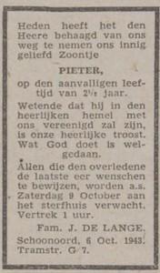 Pieter de Lange, 6-10-1943, overlijdensadvertentie
