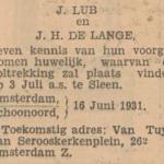 Lub en de Lange, 16-6-1931, ondertrouwd