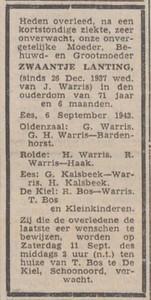 Zwaantje Lanting, 6-9-1943, overlijdensadvertentie