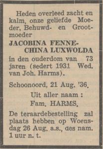 Jacobina Fennechina Luxwolda, 21-8-1936, overlijdensadvertentie