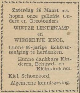 Lendekamp en Knol, 26-3-1932, 40 jarig huwelijk