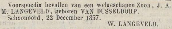 Bastiaan Langeveld, 22-12-1857, geboorteadvertentie