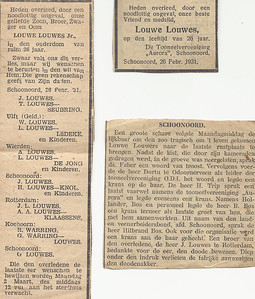 Louwe Louwes, 26-2-1931, overlijdensadvertentie
