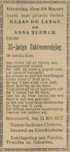 de Lange en Timmer, 21-3-1927, 25 jarig huwelijk