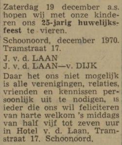 van der Laan en van Dijk, 19-12-1970, 25 jarig huwelijk