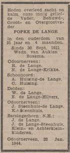 Popke de Lange, 23-1-1944, overlijdensadvertentie