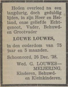 Louwe Louwes, 26-12-1938, overlijdensadvertentie