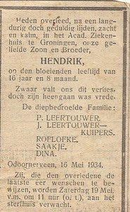 Hendrik Leertouwer, 16-5-1934, overlijdensadvertentie