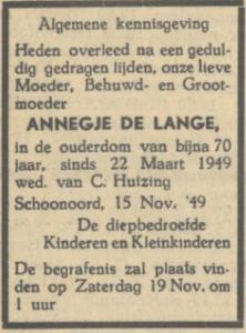 Annegje de Lange, 15-11-1949, overlijdensadvertentie