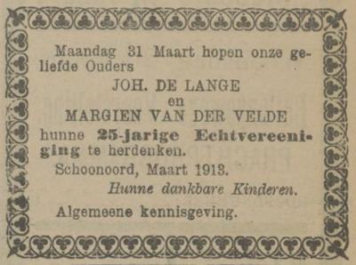 de Lange en van der Velde, 31-3-1913, 25 jarig huwelijk