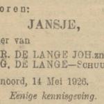 Jansje de Lange, 14-5-1926, geboorteadvertentie
