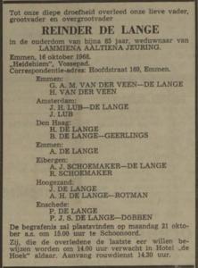 Reinder de Lange, 16-10-1968, overlijdensadvertentie