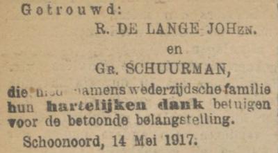 de Lange en Schuurman, 11-5-1917, huwelijksadvertentie