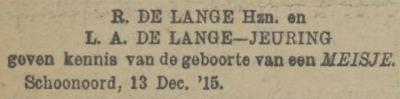 Anna Jantiena de Lange, 13-12-1915, geboorteadvertentie