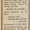 Harm de Lange, 11-7-1940, overlijdensadvertentie