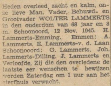 Wolter Lammerts, 12-11-1945, overlijdensadvertentie