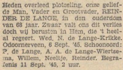 Reinder de Lange, 6-9-1945, overlijdensadvertentie